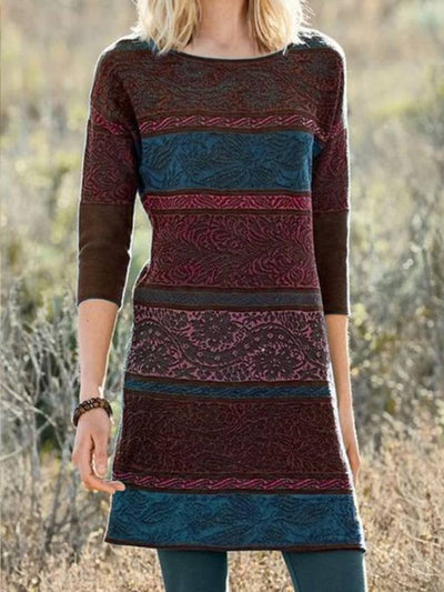 Multicolor Crew Neck 3/4 Sleeve A-Line Dresses