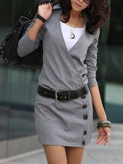 Gray Bodycon Patchwork Sexy Dresses