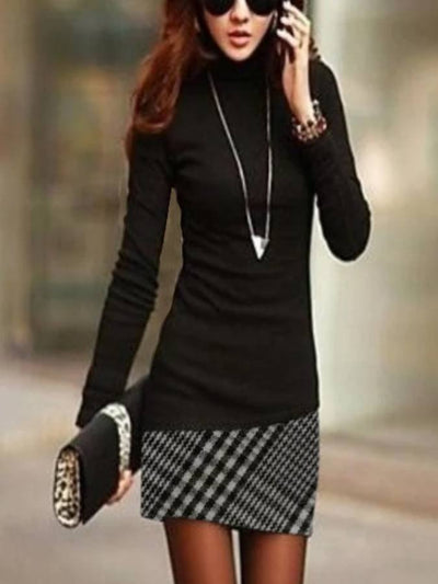 Black Turtleneck Sexy Sheath Checkered Dresses