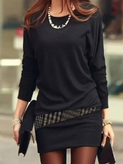 Black Casual Patchwork Bodycon Dresses