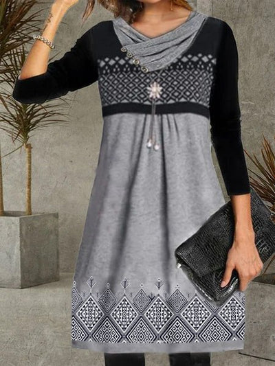 Gray Geometric Vintage Long Sleeve Dresses