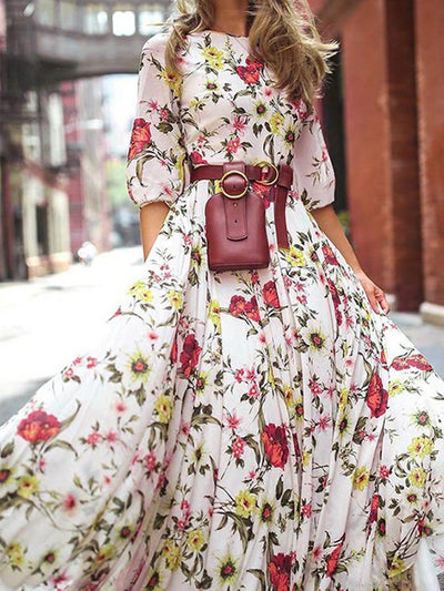 Floral Casual Swing Half Sleeve Dresses