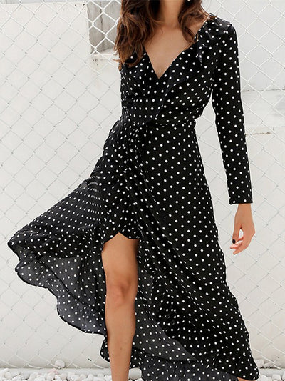 V Neck Polka Dots Dresses