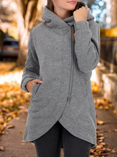 Gray Shift Hoodie Solid Long Sleeve Outerwear