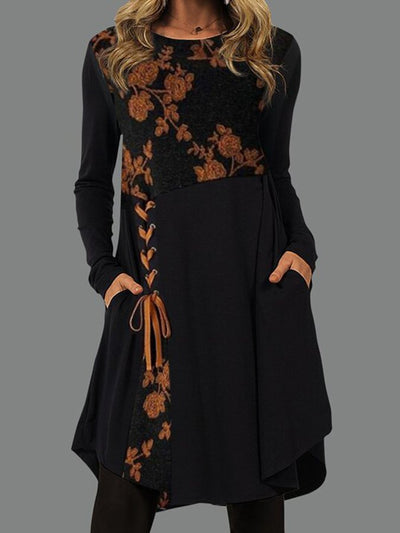Long Sleeve Round Neck Lace-Up Casual Mini Dresses