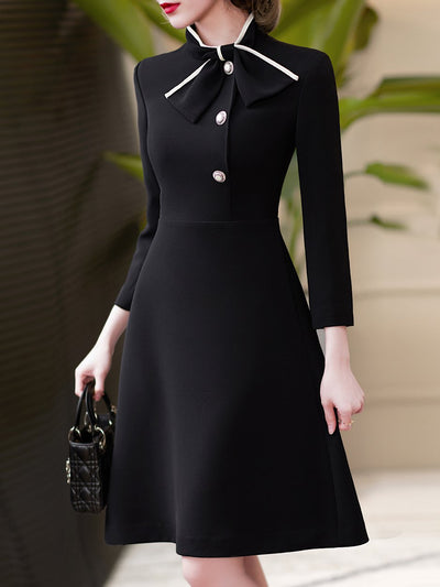 Black Color-Block A-Line Solid Elegant Dresses