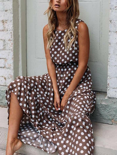 Holiday Polka Dots Sleeveless Dresses