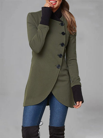 Plus Size Long Sleeve Buttoned Solid Shift Coat
