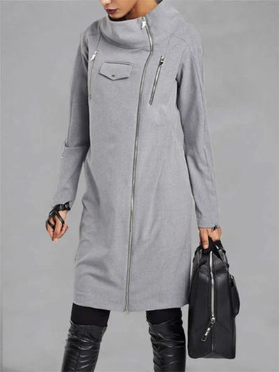 Solid Turn-Down Collar Shift Long Sleeve Coat