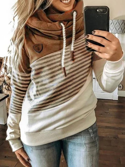 Long Sleeve Shift Stripes Hoodie Sweatshirt