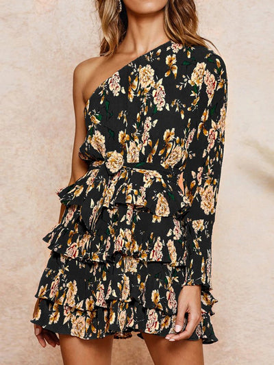 Slanted Shoulder Print High Waist Dress