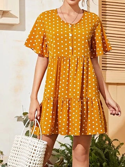 Polka Dot Print Short Sleeve Dress