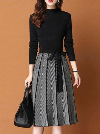 Long Sleeve Casual Turtleneck A-Line Dresses