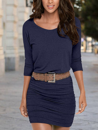 Dark Blue Casual Cotton-Blend Dresses