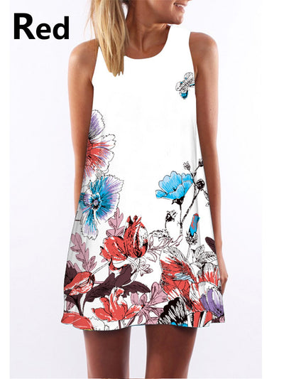 Women   Going out Sleeveless Cotton Floral Dress