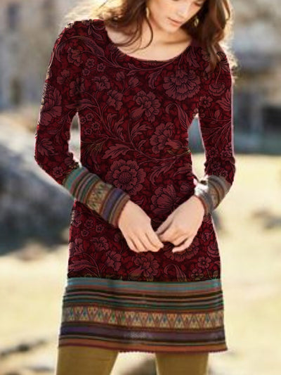 Cotton Round Neck Casual Printed Dresses