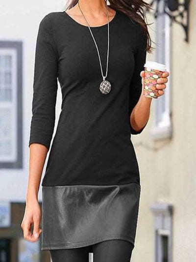 Black Casual Bodycon Patchwork Dresses