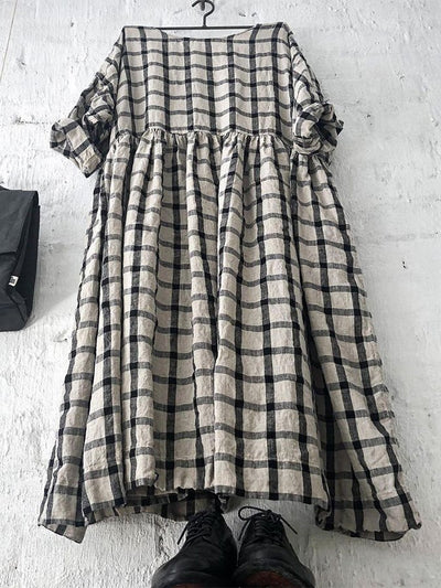 Black 3/4 Sleeve Checkered/plaid Shift Dresses