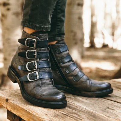 Faux Leather Daily Low Heel Boots