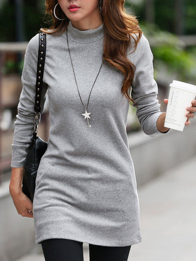 Solid Color Turtleneck Plus Velvet Warm Sexy Slim Top
