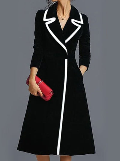 Black Plain Long Sleeve A-Line Lapel Dresses