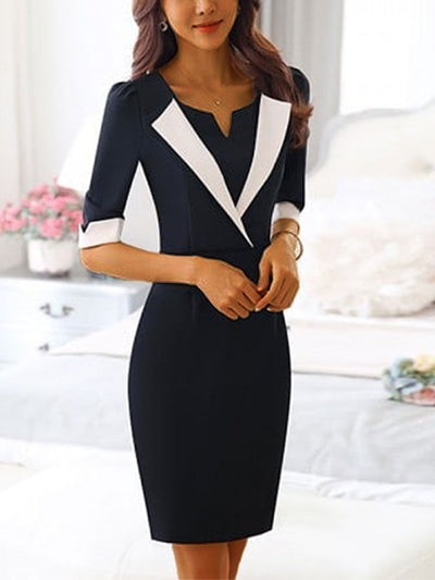 Black-White Plain Cotton-Blend Work V Neck Dresses