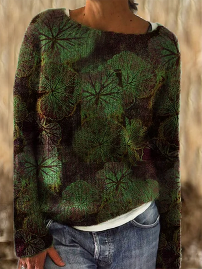 Green Long Sleeve Shift Crew Neck Leaf Shirts & Tops