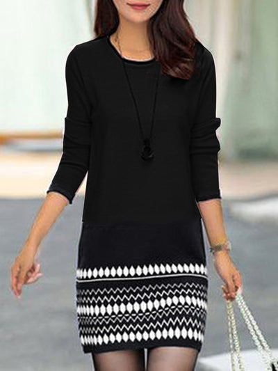 Black Cocoon 3/4 Sleeve Dresses