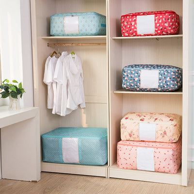 Foldable Storage Bag Foldable Clothes Organizer Clear Window & Carry Handles Great for Clothes Blankets Closets Bedrooms and More