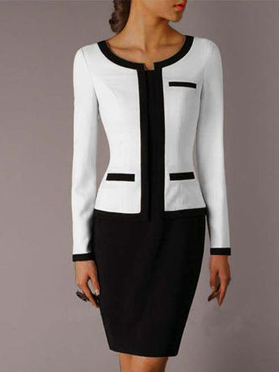 White-Black Long Sleeve Plain Dresses