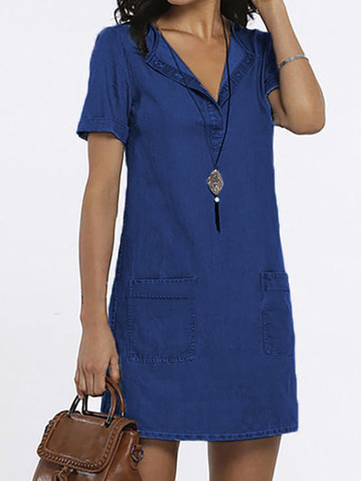 Blue Shift Women Daily Short Sleeve Basic Paneled Solid Summer Dress