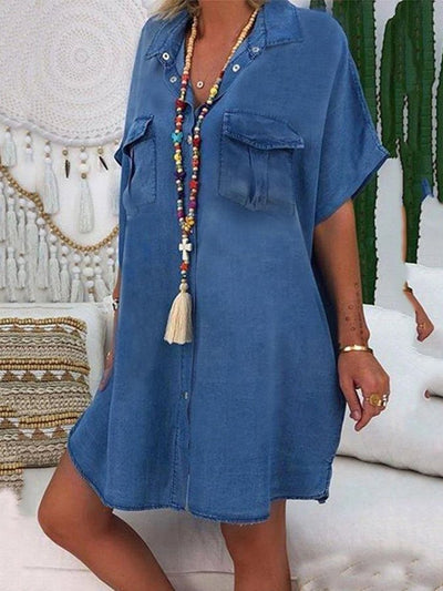 Blue Cotton Casual Dresses