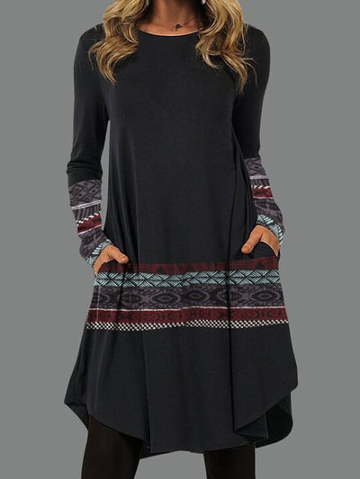 Pockets Vintage Round Neck Dresses