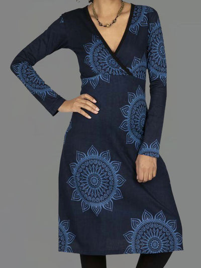 Blue Long Sleeve Floral Shift V Neck Dresses