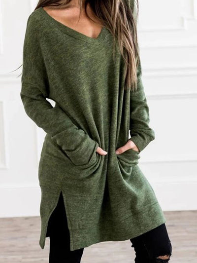 Plain Shift Long Sleeve Dresses