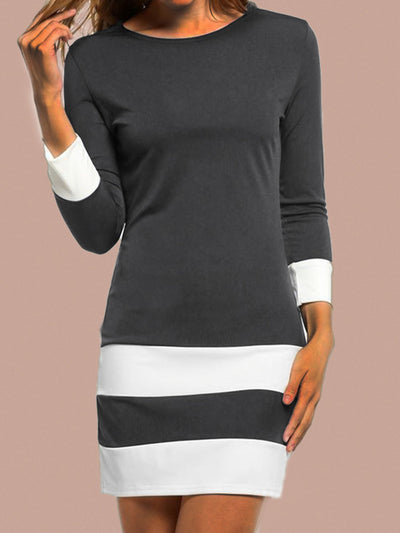 Gray Crew Neck Long Sleeve Printed Dresses