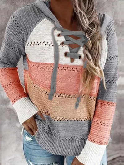 Pink Shift Casual Printed Long Sleeve Sweater