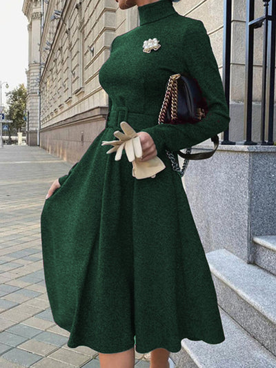 Turtleneck  Formal Elegant  Midi Dress