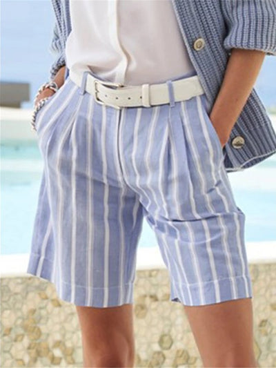 Blue Casual Striped Pants