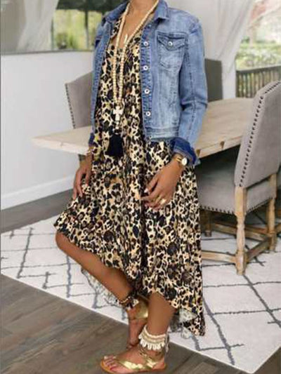 Leopard Short Sleeve Shift Crew Neck Leopard Print Dresses
