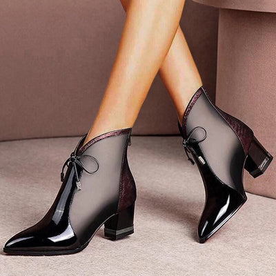 Women Pointed Toe Breathable Mesh Casual Chunky Heel Ankle Boots
