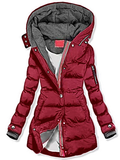 Dark Red Plain Casual Cotton-Blend Outerwear