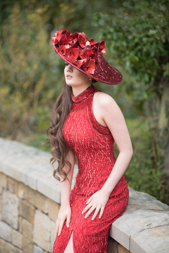Red glitter hat with flames