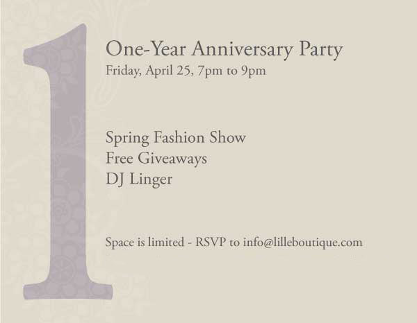 One Year Anniversary and Spring Fashion Show