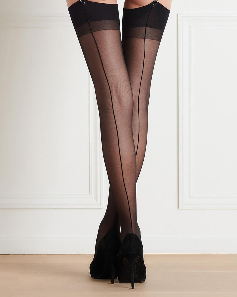 Les Coquetteries Black Back Seamed Stockings