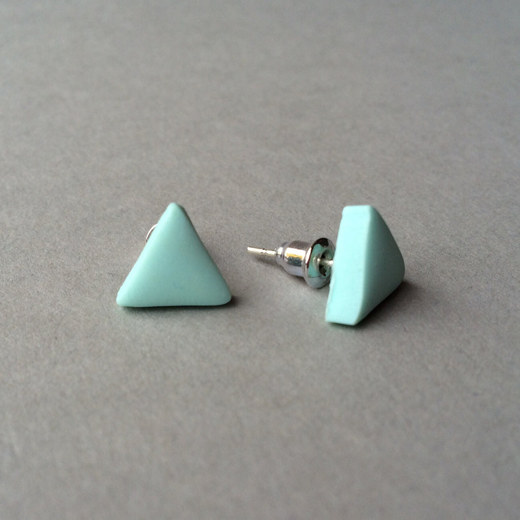 f0b7738534 Claudia made this - pastel aqua triangle stud earrings