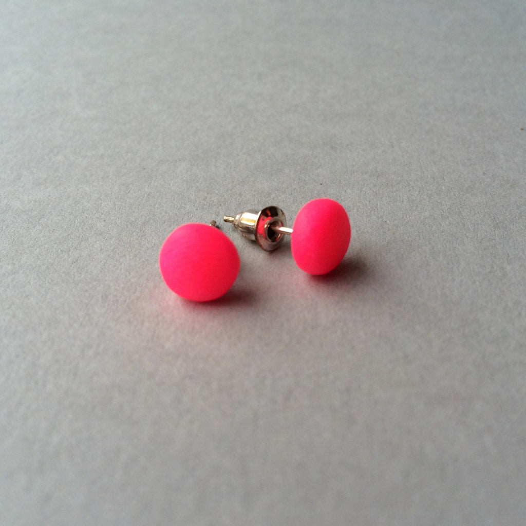46629cae1e Claudia made this - Neon pink dot stud earrings