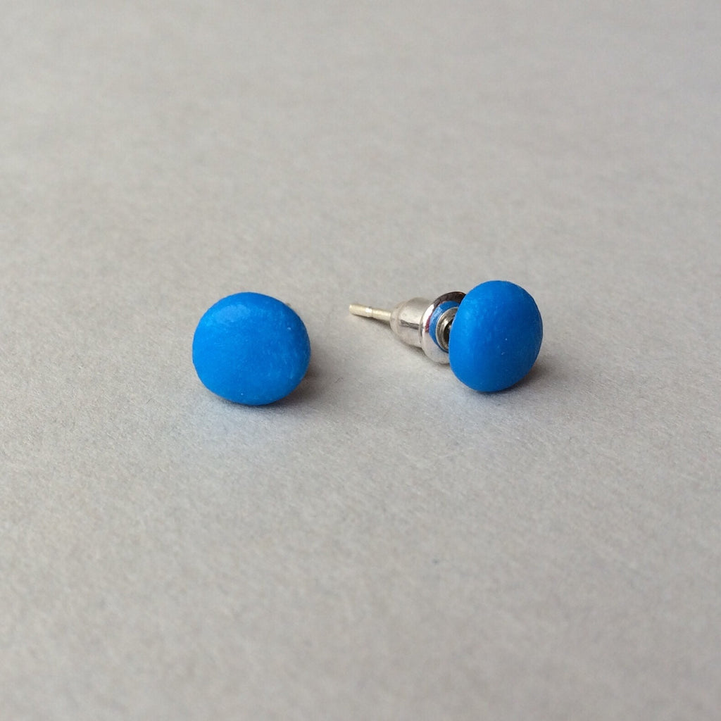 73b1709269 Claudia made this - electric blue dot stud earrings