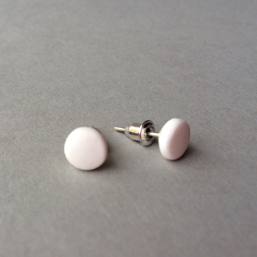 a3deeca824 Claudia made this - White dot stud earrings
