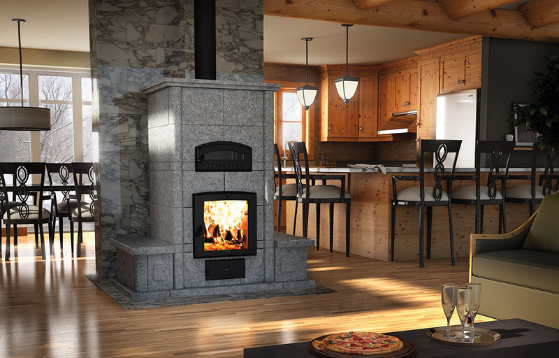 Valcourtinc FM1200 Mass Fireplace with oven and Benches on Both Sides